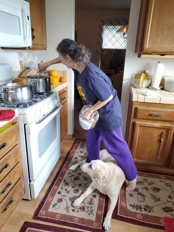 Mary Ann cooking at her kitchen stove with a GDB foster dog at her feet.
