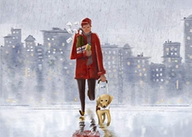 An illustration that shows a man and his yellow Lab guide dog walking on a wet city street. The man has an armfull of holiday packages, and the dog carries an envelope in his mouth.