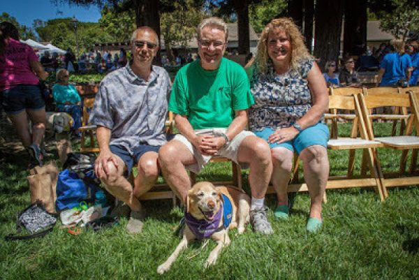 Jim, Trinity (yellow Lab wearing her purple scarf and blue jacket), Don & Kelli from last summer's Fun Day in CA.